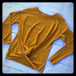 Gaze boutique mustard yellow knotted sweater